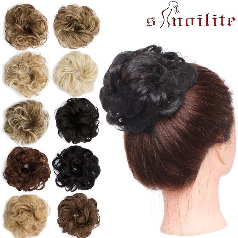 S-noilite Hair Bun Synthetic Women Chignon Hair Band Hairpieces For Women Curly Hair Chignon Donut Bun Wrap Chignon Ponytail