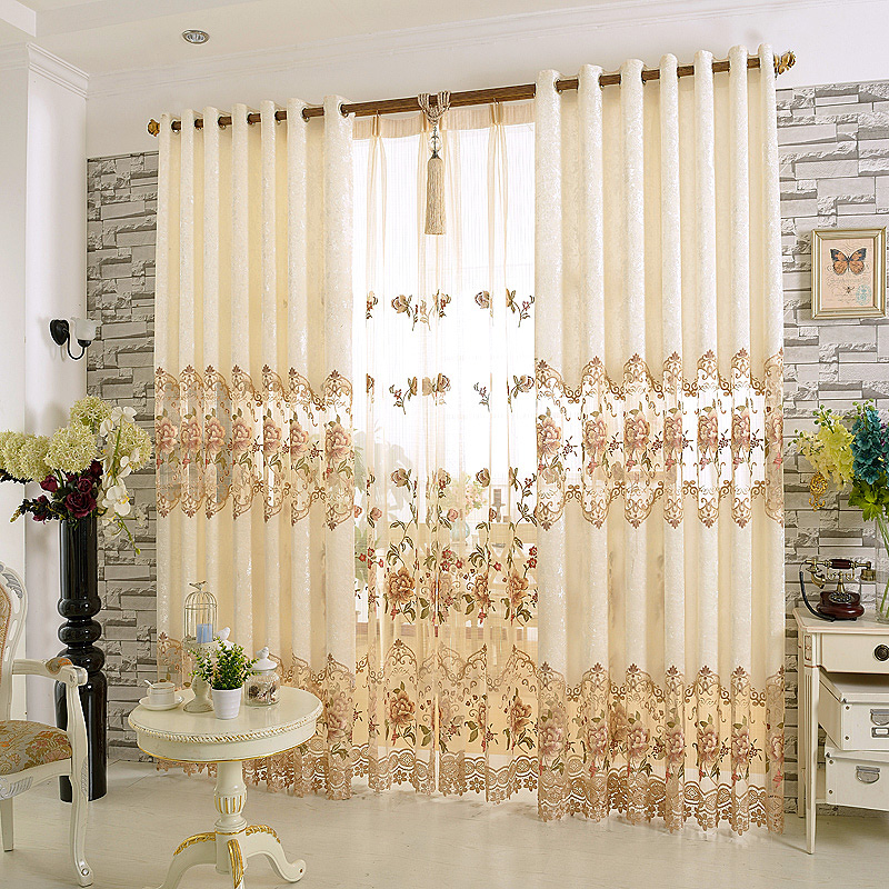 Embroidery curtains tulle and cloth high end ice velvet for High end curtains and window treatments