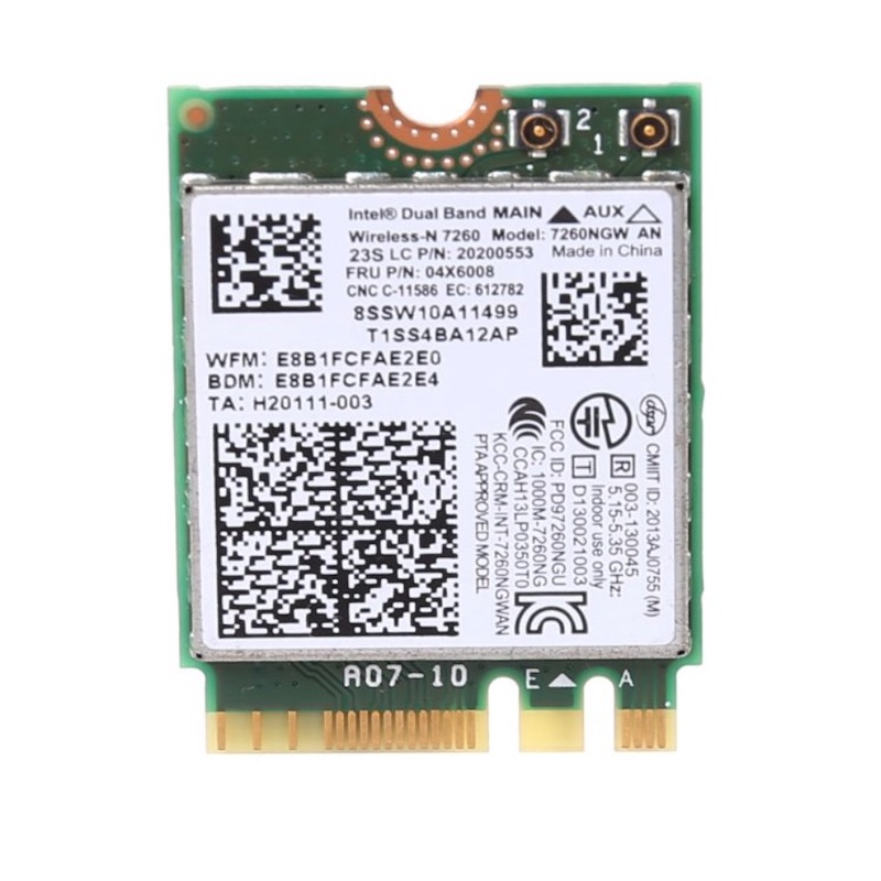 Nouvelle carte sans fil Intel Wireless-N 7260 7260NGW NGFF Wifi Bluetooth4.0 pour ThinkPad X240 X230S T440S FRU: 04X6008 7260AN