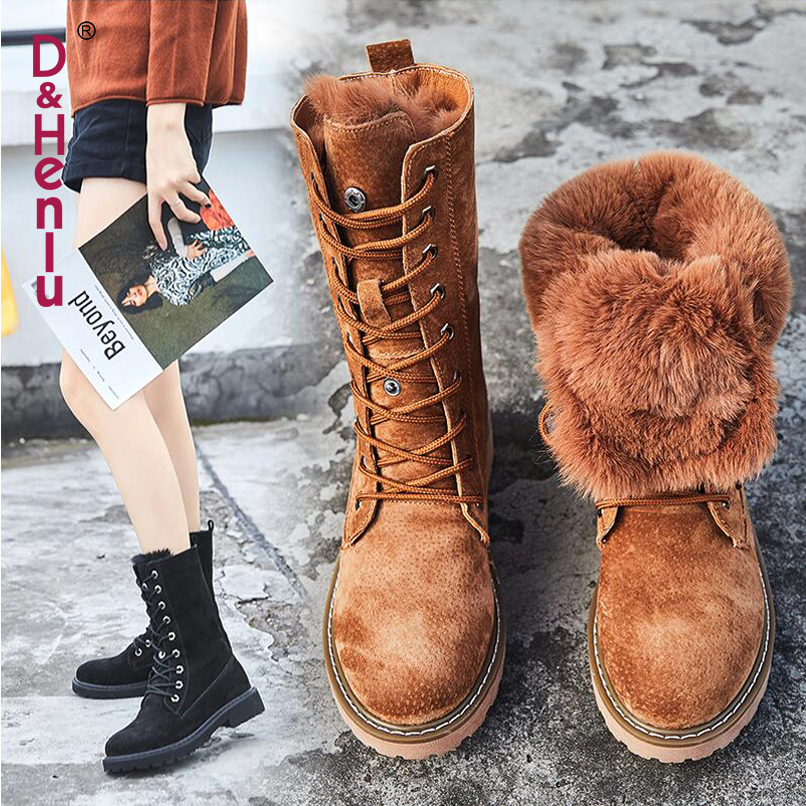Winter Boots With Fur Women Lace Up Boots high 2018 Womens Shoes Genuine Leather Mid Calf Boot Leather Non Slip botas mujer