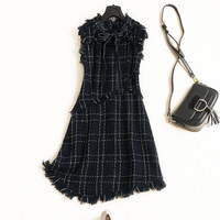 Women fashion plaid tweed dress sleeveless bow tie neck tassel fringe asymmetric dresses new 2018 autumn winter blue