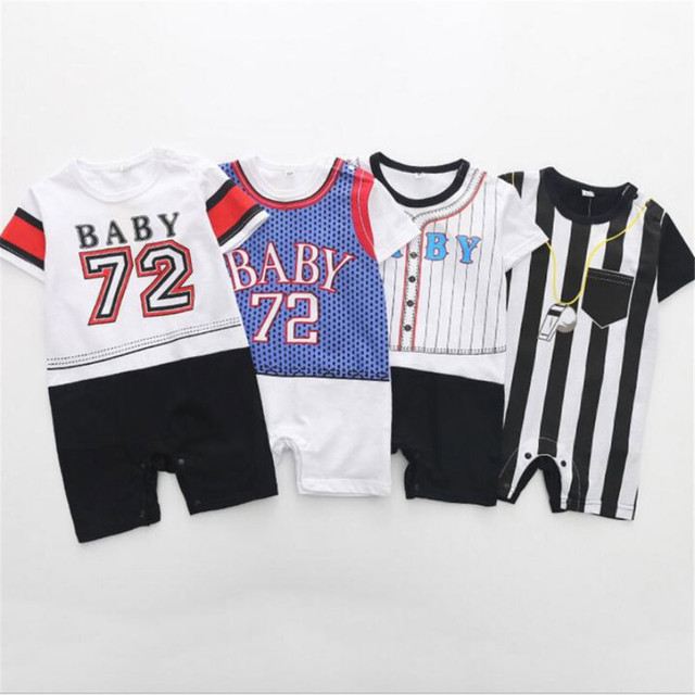 b587e2cdcdcb Summer Sports Baby Boys Girls Romper Short Sleeves Jumpsuit Baseball Printed  Rompers Cotton Baby Sport Clothes