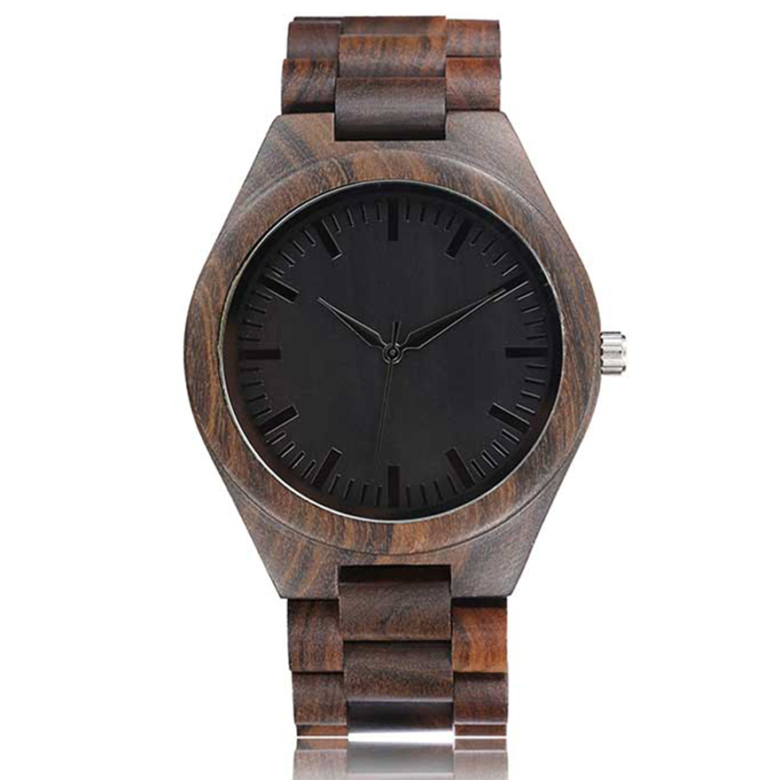 Walnut Wood Watch Men Natural Wooden Watches Male Casual Wristwatch Brown Clock 2