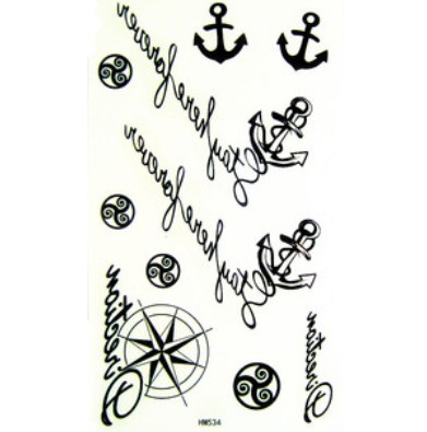 2cba5e12e2bed Shipping Free 2012 latest new design new release Temporary Tattoo  waterproof anchor nautical tattoo stickers 10PCS