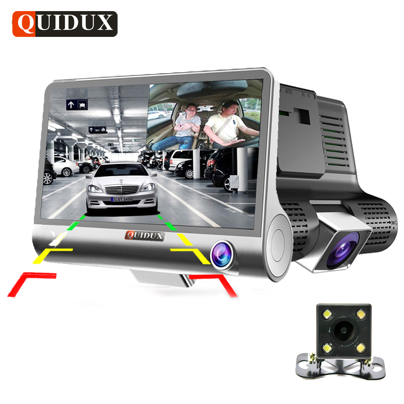 QUIDUX 3 Way Camera Car DVR HD Video Recorder Camera Dual Lens with Rear view Registrar 4.0 inch Dash Cam Night vision Camcorder