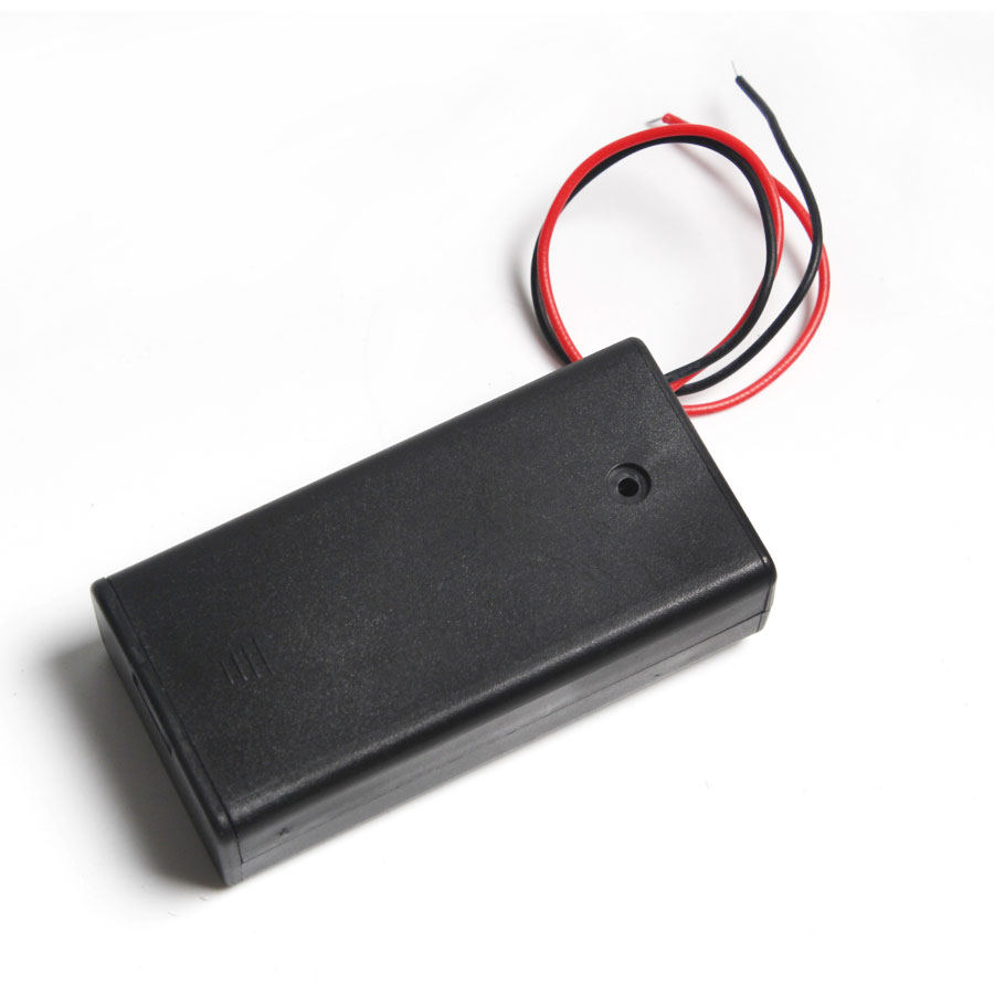 1PCS 2 x 3V AA Battery Holder Case Box Battery Box AA Flashlight Battery Holder With Cover ON / OFF Switch Wire Lead