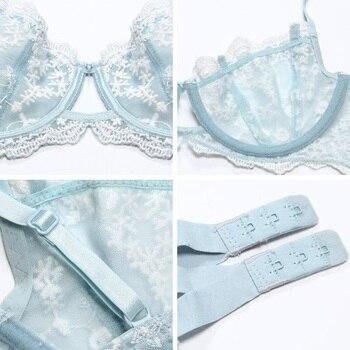 Ultrathin Lingerie set plus size bras A B C D Cup sexy bra set transparent women underwear Embroidery Flowers Lingerie bralette 6