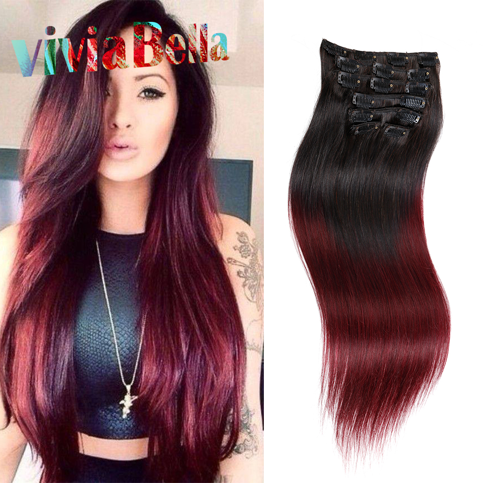 Virgin Brazilian Hair Clip In Hair Extensions 100g Ombre Red