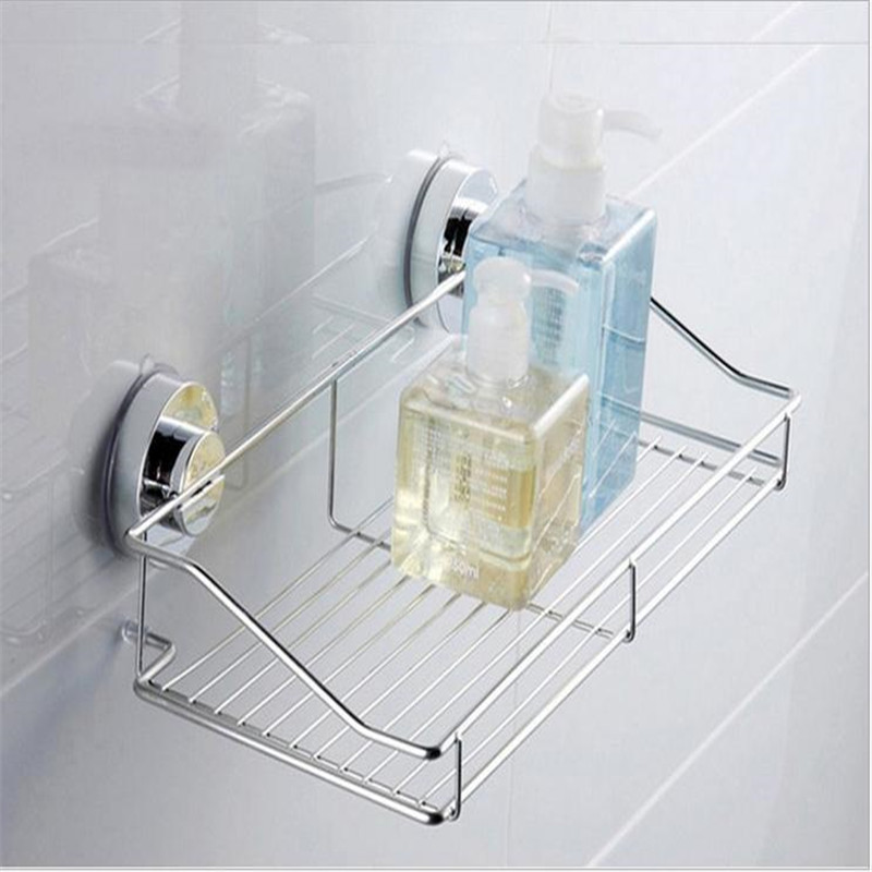 Strong Suction Shower Basket Dual Sucker Bathroom Shelf Washing Room/Kitchen Corner Basket Wall Mounted Storage Rack black bathroom shelves stainless steel 2 tier square shelf shower caddy storage shampoo basket kitchen corner shampoo holder