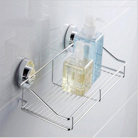 Stainless Steel Strong Suction Shower Basket Bathroom Shelf Washing Room Kitchen Bathroom Corner Basket Wall Mounted