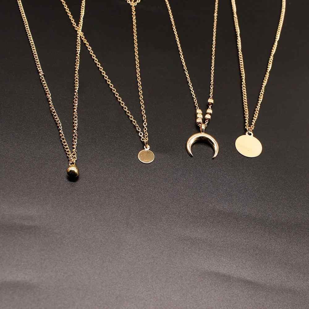2019 ใหม่ผู้หญิงแฟชั่นดวงจันทร์ดวงอาทิตย์ดาวคริสตัลอัญมณีเวเฟอร์โซ่ลูกปัดทองหลาย Party ชุดสร้อยคอยาว