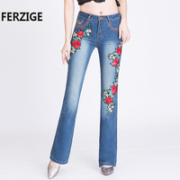 FERZIGE Women S Jeans High Waist Stretch Embroidered Floral Flares Pants Long Trousers Elegant Woman Fashion