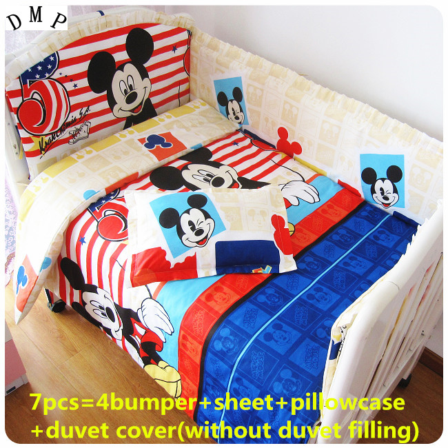 Promotion! 6/7PCS Cartoon Baby Crib Bed Sets Cribs For Babies Quilt Cover,Can Be Customized Cot Bedding ,120*60/120*70cm купить зимний шапку шлем для девочки