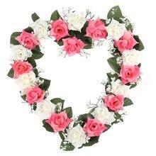 LanLan поддельные шелковые розы плюща лоза Искусственные цветы Висячие Свадебный дорожный цветок Венок Сердце Стиль фестиваль поставки украшения