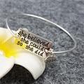 20pcs/lot She Believed She Could So She Did Bracelet Inspirational Bangle Bracelet wholesale freeship