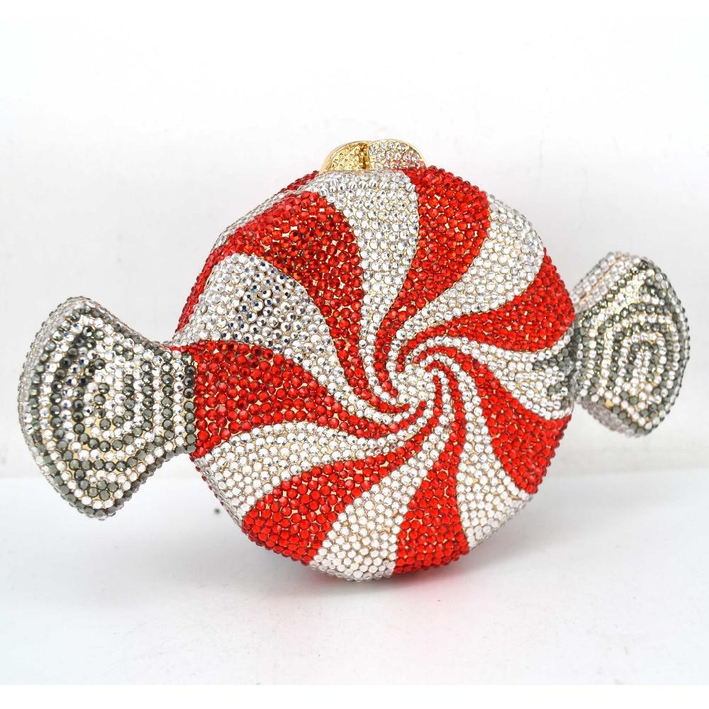 Projektant czerwone cukierki torebka dostosowane luksusowe kryształ wieczór torba słodycze kształt łańcucha kopertówka kobiet torba SC579 w Torby z uchwytem od Bagaże i torby na  Grupa 2