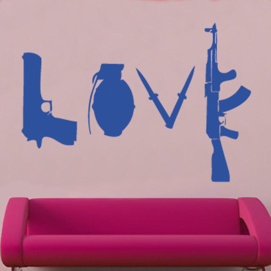 W227 Banksy Love Weapons Қабырға жапсырмасы Art - Үйдің декоры - фото 6