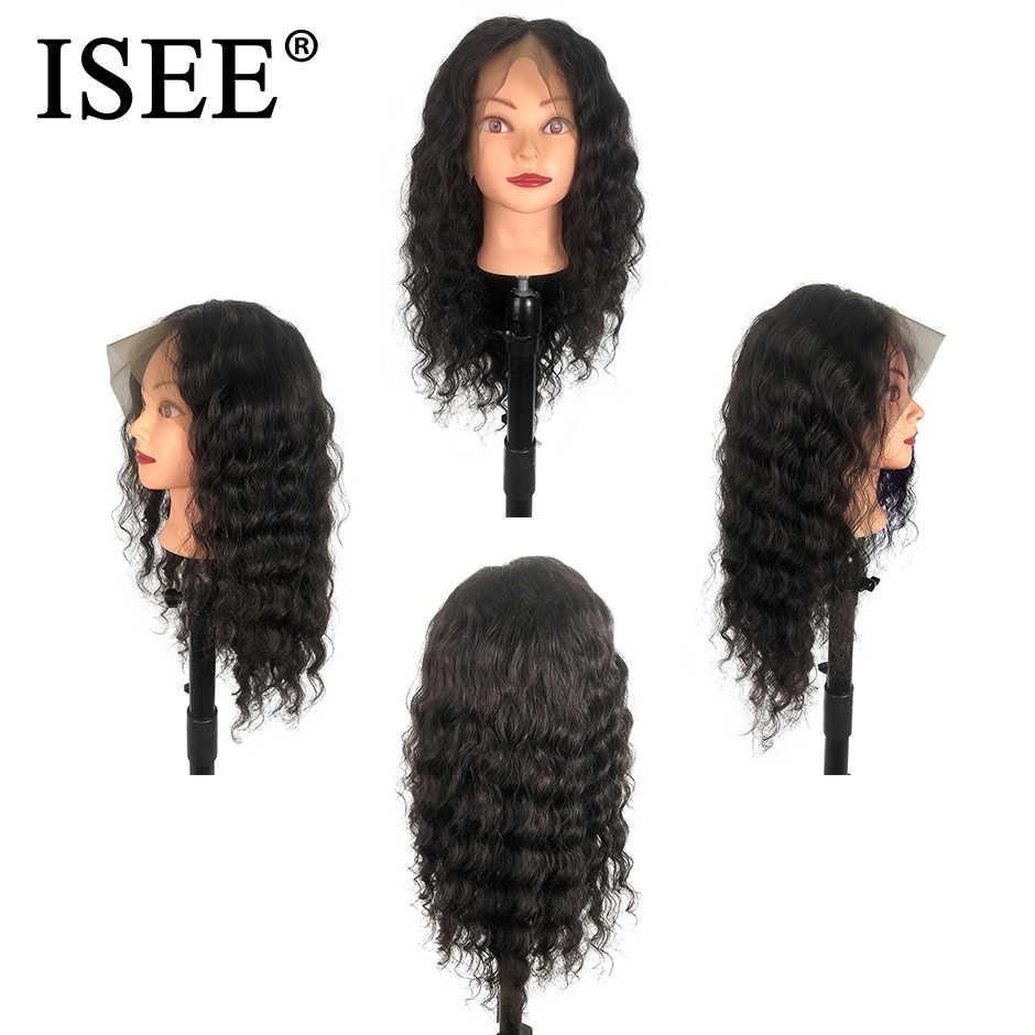 Парики из натуральных волос на кружеве 13X4 перуанские парики для черных женщин парики из натуральных волос 13X6 ISEE волосы Свободные глубокие волны парик