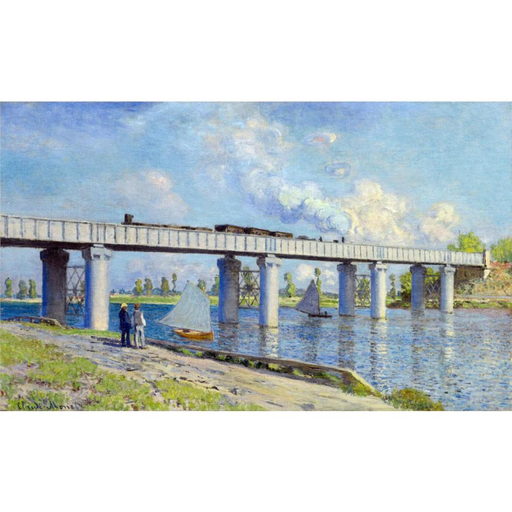 Classic oil painting on canvas Railway Bridge at Argenteuil Claude Monet handmade art wall home decor