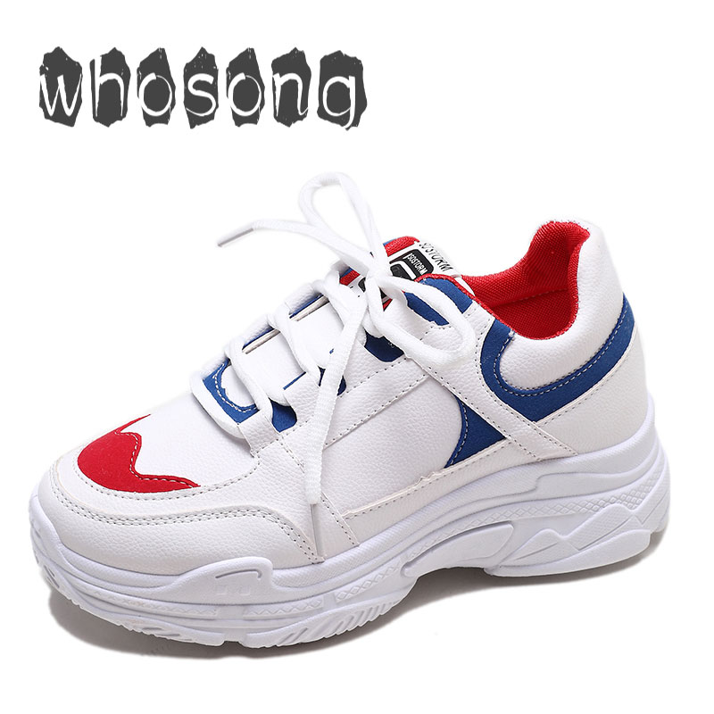 Women Shoes 2019 New Chunky Sneakers For Women Shoes Flat Casual Fashion Dad Shoes Platform Sneakers Women Basket Femme Krasovki(China)