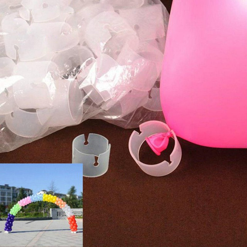 50pcs lot Orbs Buckle Plastic Clip Bracket For Wedding Birthday Party Supplies Balloon Connector Ring Buckle