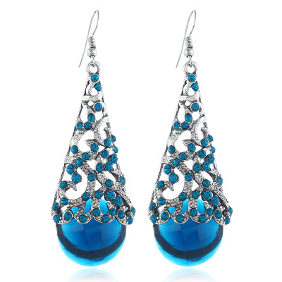Earrings Semi-Precious-Stone Crystal Features Restoring-Ancient-Ways with Is Hollow-Out-Alloy