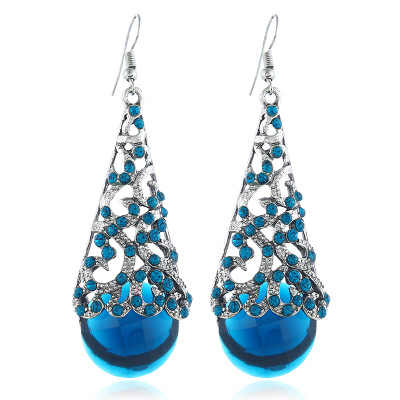 New with restoring ancient ways is hollow-out alloy crystal pendant earrings Semi - precious Stone features earrings