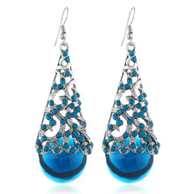 New with restoring ancient ways is hollow-out alloy crystal pendant earrings Semi - precious Stone features earrings цена