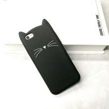 Hot Sale! 3D Cute Black Cat Ears Beard Phone Cases For iphone 5 5s Se 6 6S 6Plus 7 7Plus Soft Silicone Cartoon Cover Funda Coque