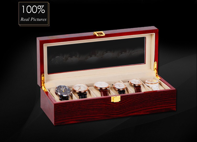 Free Shipping 6 Grids Watch Display Box Red High Light Lacquer Wooden Watch Boxes Fashion Design Watch Storage Gift Boxes B0319 free shipping 6 grids watch display box black high light brand mdf watch box fashion watch storage packing gift boxes case w026