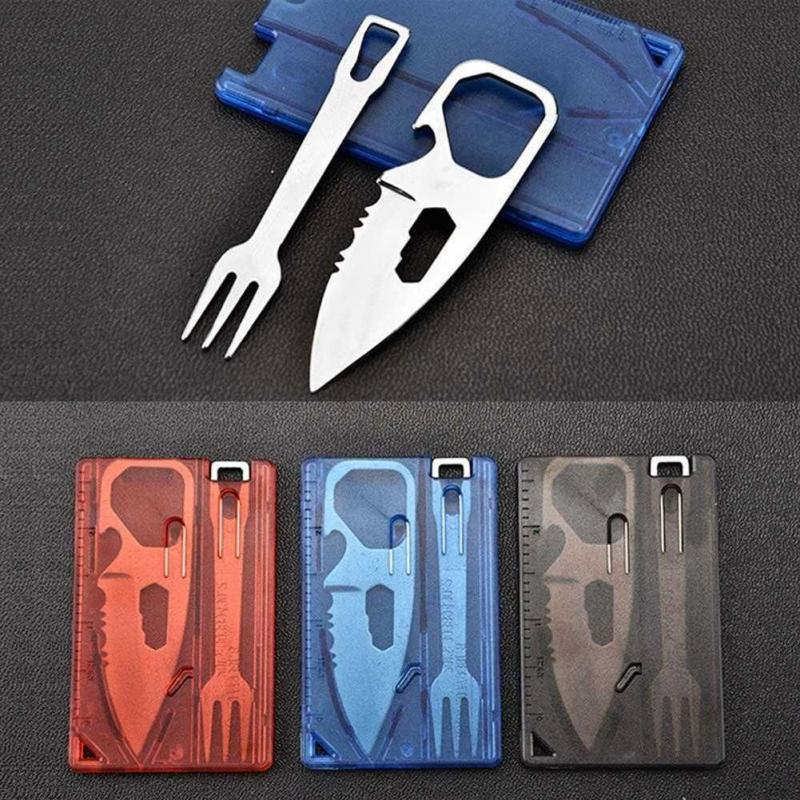 Outdoor Portable 2pcs Travel Survival Camping Tactical Knife Fork Sets Cutlery Multifunctional Card Bottle Opener Tool