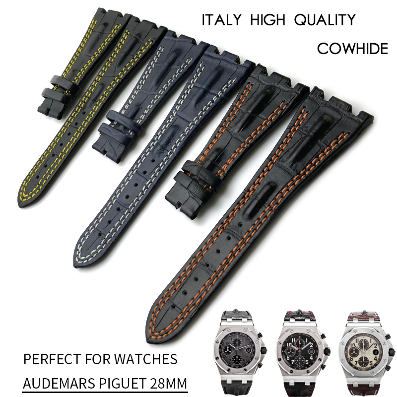 28mm Genuine Cowhide Leather Watch Strap High Quality Watchband Folding Buckle Suitable for AUDEMARS PIGUET Watch Accessories