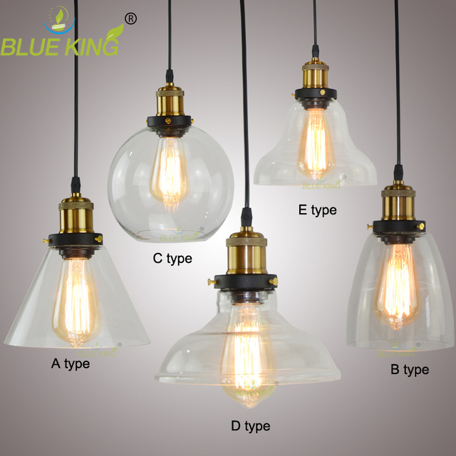 Commercial Lighting Types: 6 Types Modern Industrial Style Glass Pendant Lamp Glass
