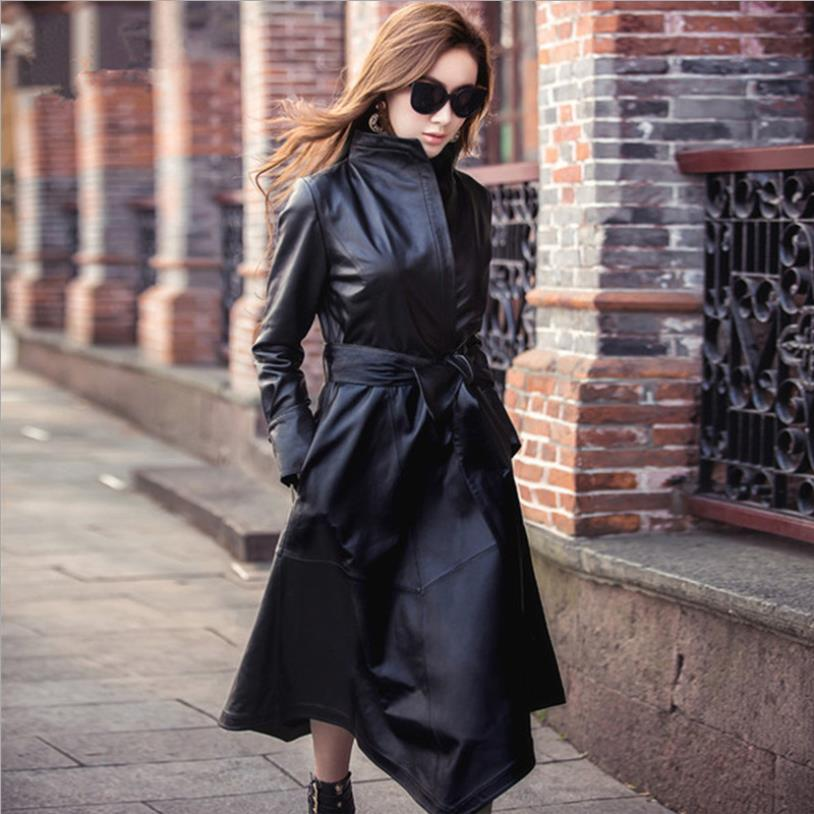 High quality women Pu   leather   coats spring autumn new fashion brand sashes slim trench female long outerwear tops gx1716
