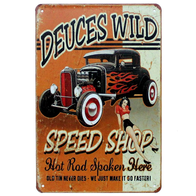 [ Kelly66 ] SPEED SHOP DEUCES WILD Metal Plaque Bar Cafe House Wall Signs Painting Craft ...