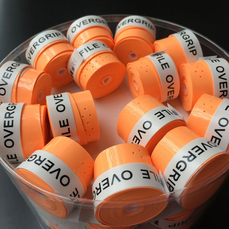 60 pecs (Bright orange) Sticky feel Overgrip tennis grip,perforated Badminton Grip,tennis overgrip,tennis racket grip