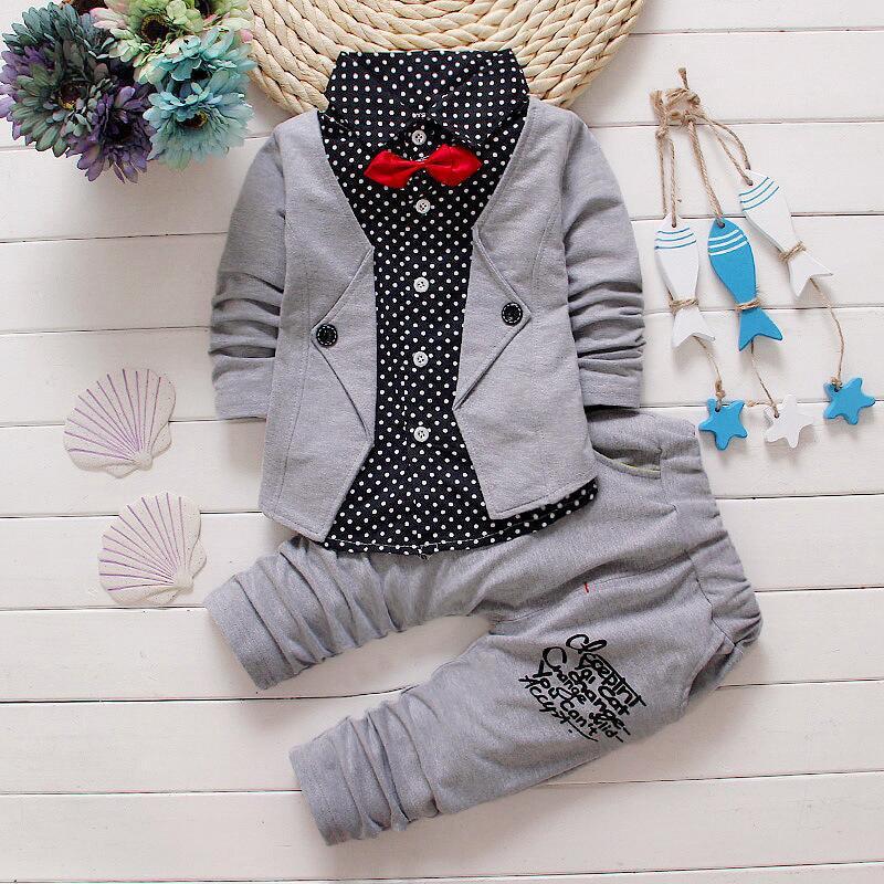Unforgettablechildhood Store 2017Autumn winter Hot sale new fashion boy suit gentleman button fake two-piece polka dot coat with tie+solid cotton pants 2pcs