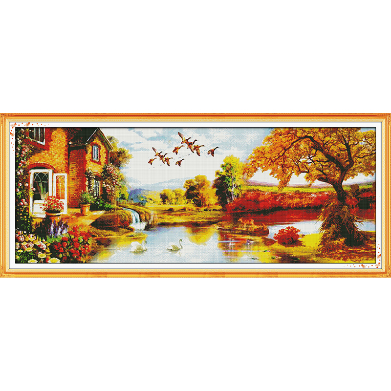 Everlasting Love Golden scenery (3)  Chinese cross stitch kits Ecological cotton stamped printed DIY Christmas decorations gift
