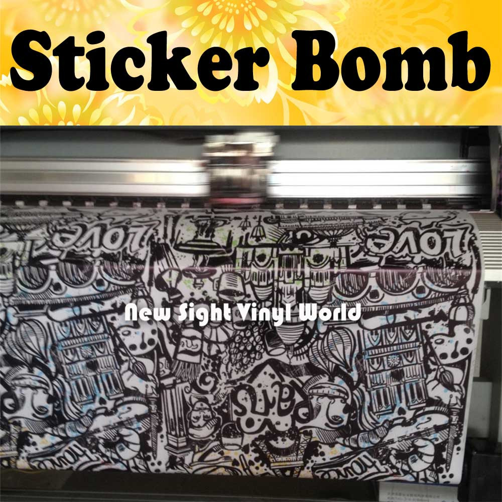 Black And White Sticker Bomb Vinyl Film Sticker Bombing Graffiti Vinyl Wrap Bubble Free Auto Graphics Size:1.50*30m/Roll