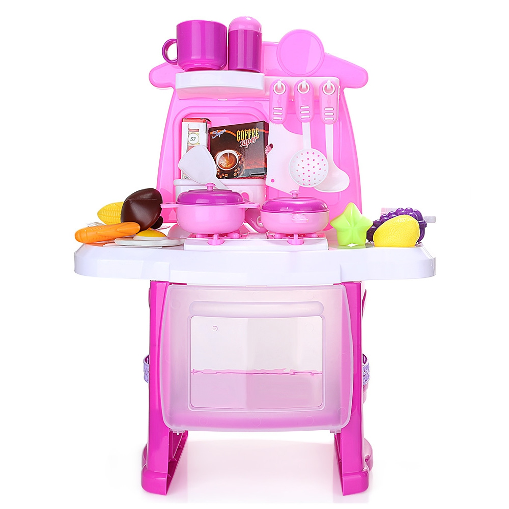 Children Kids Luxury Simulated Kitchen Cooking Tools Kit Magic Kitchen Box with Beautiful Music Light Pretend Play Toys
