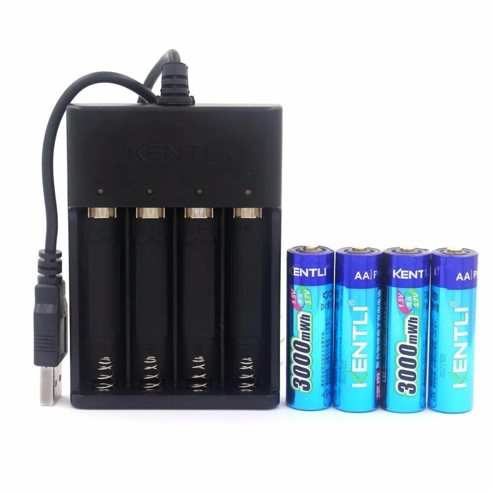 KENTLI 4 pcs AA 1.5 V 3000mWh au lithium li-ion rechargeable batterie + 4 Canal polymère au lithium li-ion batterie batteries chargeur
