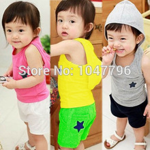 2016 Newborn Baby Clothing Sets Boy/girl Cotton Vest + Shorts 2pcs Kids Clothes Sets Star Design Sports Suit for Infant Clothing