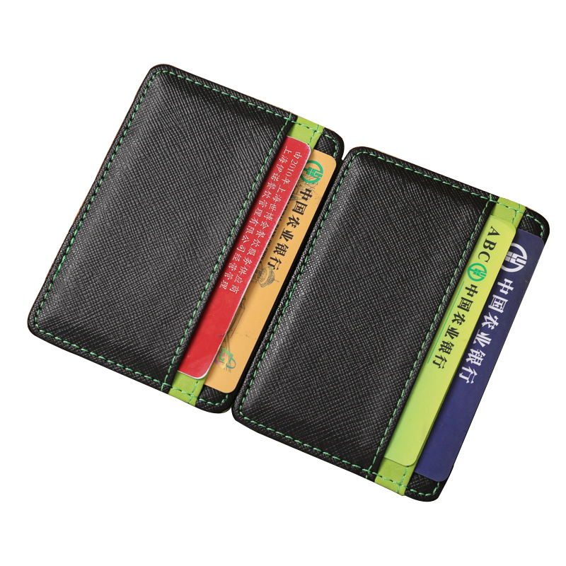 JINBAOLAI Magic Male Money Clips Fashion Women Wallets Men Leather Short Purses 4 Card Bits Unisex Wallet Thin Small Purse