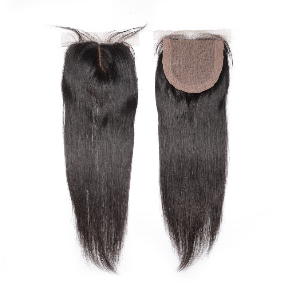Halo Hair Brazilian Silk Base Closure Straight Hair 100% Remy Human Hair Closure Middle Part Bleached Knots With Baby Hair