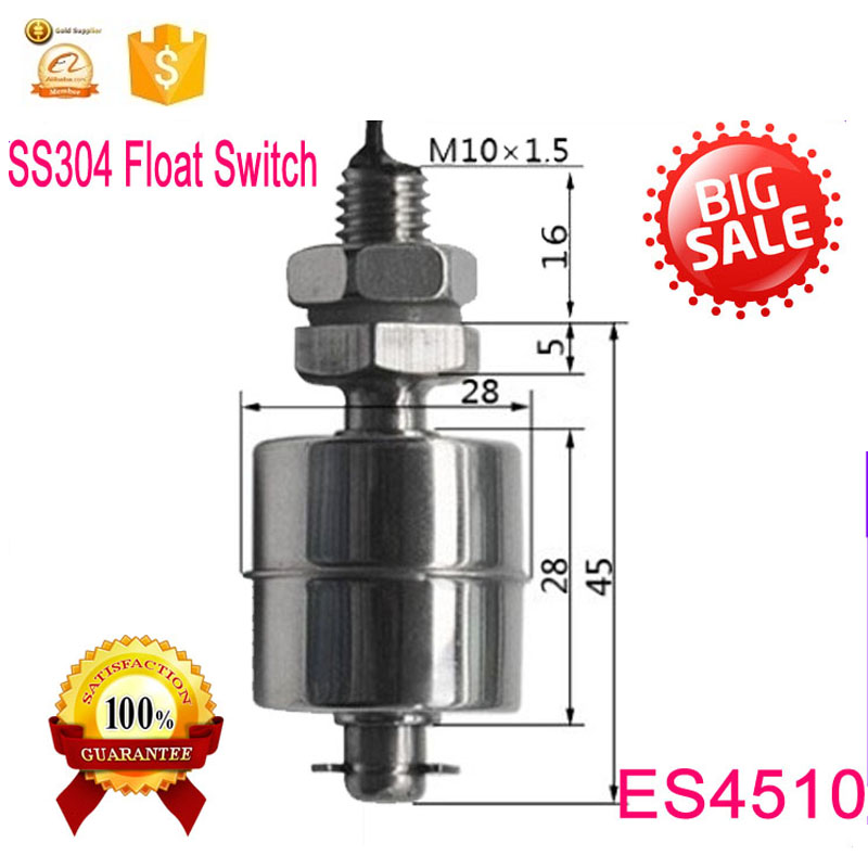 Free Shipping  M10*45MM   5V 9V 12V 100V 10W SUS304 High Temperature Horizontal Stainless Steel Float Switch ES4510