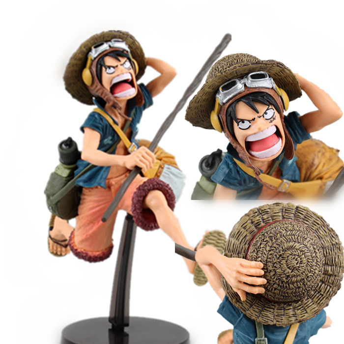 One Piece Anime Cute Figure doll Ornaments Pirate Era of King Luffy Empty Island Papers Thor Sky Warrior Toy 15.5cm