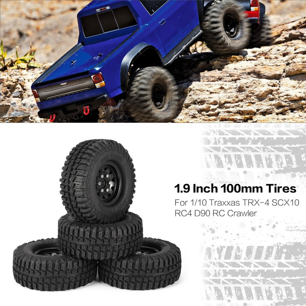 4Pcs 1.9 Inch 100mm Rubber Tires with Metal Wheel Rim Set for 1/10 Traxxas TRX-4 SCX10 RC4 D90 RC Crawler Car Toys Tire Part mxfans rc 1 10 2 2 crawler car inflatable tires black alloy beadlock pack of 4