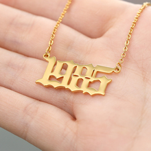 Personalized Number 1988 Necklace Custom Old English Fashion Jewelery Stainless Steel Pendant