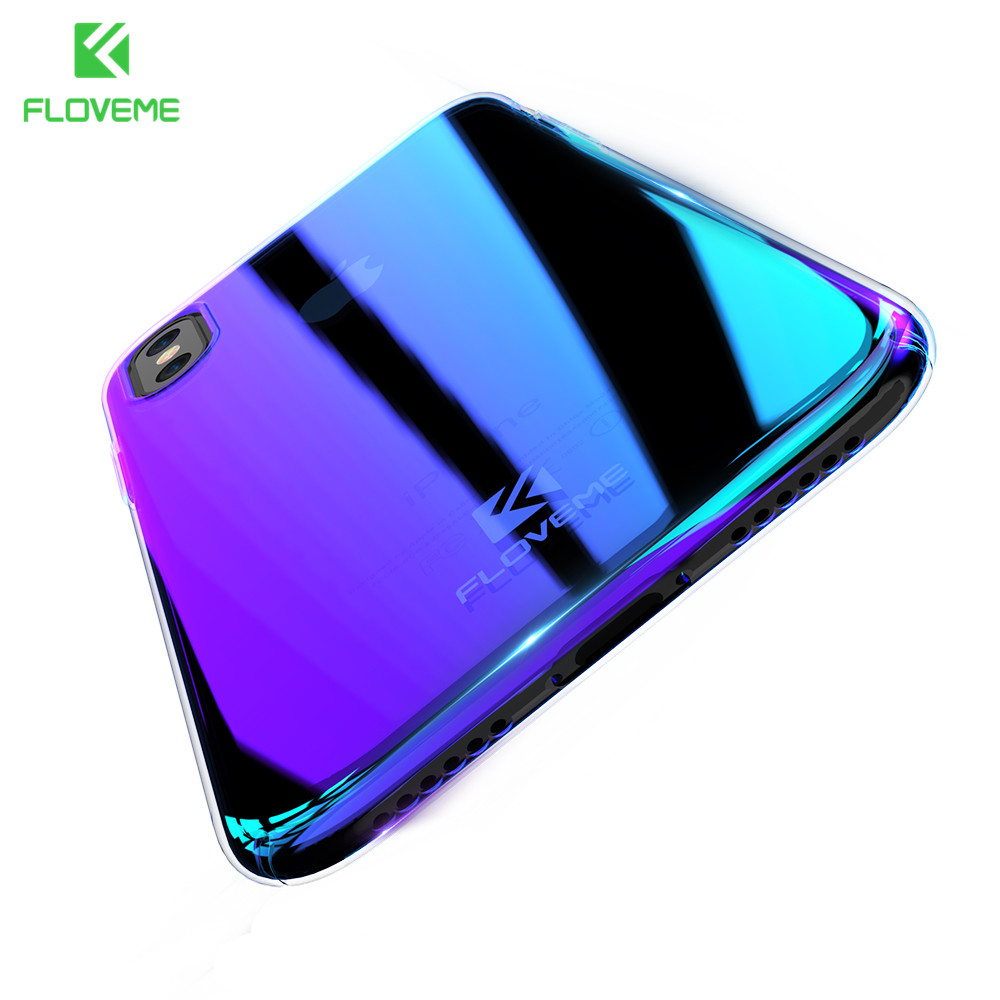 FLOVEME Gradient Case for iPhone X Phone Case Aurora Blue Ray Cover for iPhone X Back Cover