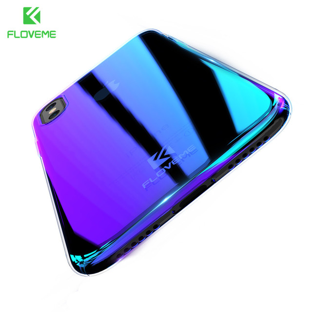 promo code de2ed b5fd8 US $4.79 |FLOVEME Gradient Case for iPhone X Phone Case Aurora Blue Ray  Cover for iPhone X Back Cover Mobile Phone Accessories Coque Capa-in Fitted  ...